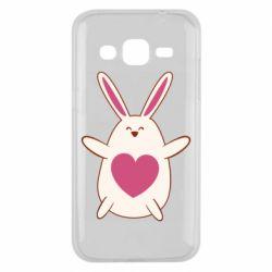 Чехол для Samsung J2 2015 Rabbit with a pink heart