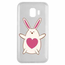 Чехол для Samsung J2 2018 Rabbit with a pink heart
