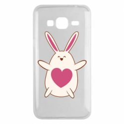 Чехол для Samsung J3 2016 Rabbit with a pink heart