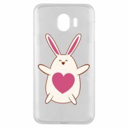 Чехол для Samsung J4 Rabbit with a pink heart
