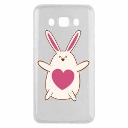Чехол для Samsung J5 2016 Rabbit with a pink heart