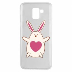 Чехол для Samsung J6 Rabbit with a pink heart