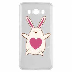 Чехол для Samsung J7 2016 Rabbit with a pink heart