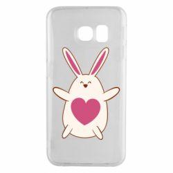 Чехол для Samsung S6 EDGE Rabbit with a pink heart