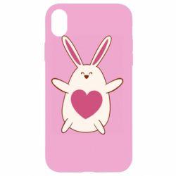 Чехол для iPhone XR Rabbit with a pink heart
