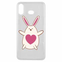 Чехол для Samsung A6s Rabbit with a pink heart