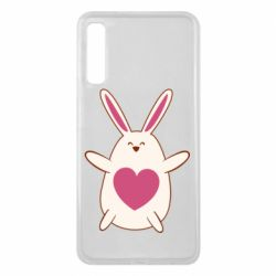 Чехол для Samsung A7 2018 Rabbit with a pink heart