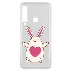 Чехол для Samsung A9 2018 Rabbit with a pink heart