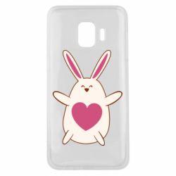 Чехол для Samsung J2 Core Rabbit with a pink heart
