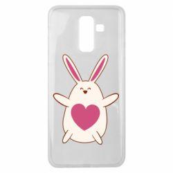 Чехол для Samsung J8 2018 Rabbit with a pink heart