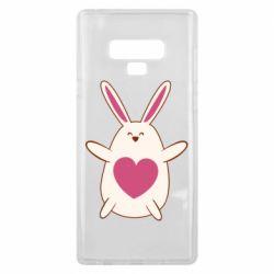 Чехол для Samsung Note 9 Rabbit with a pink heart