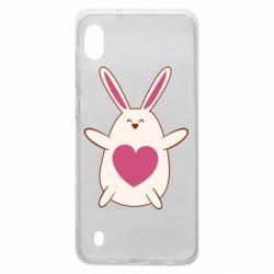 Чехол для Samsung A10 Rabbit with a pink heart