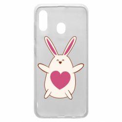 Чехол для Samsung A20 Rabbit with a pink heart