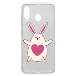 Чехол для Samsung A30 Rabbit with a pink heart