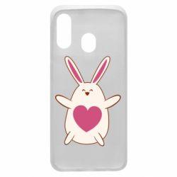 Чехол для Samsung A40 Rabbit with a pink heart