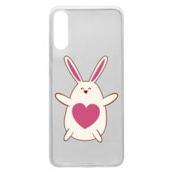 Чехол для Samsung A70 Rabbit with a pink heart