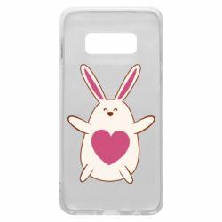 Чехол для Samsung S10e Rabbit with a pink heart