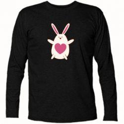 Футболка с длинным рукавом Rabbit with a pink heart