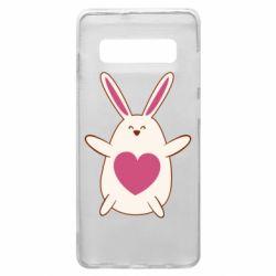 Чехол для Samsung S10+ Rabbit with a pink heart
