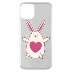 Чехол для iPhone 11 Rabbit with a pink heart