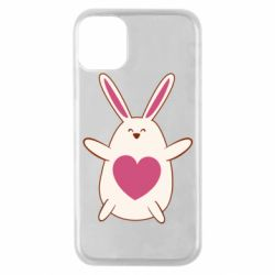 Чехол для iPhone 11 Pro Rabbit with a pink heart