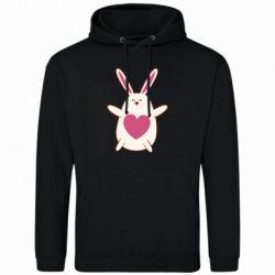 Мужская толстовка Rabbit with a pink heart
