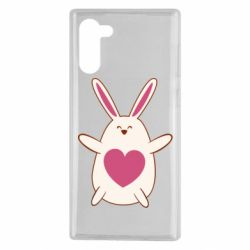 Чехол для Samsung Note 10 Rabbit with a pink heart