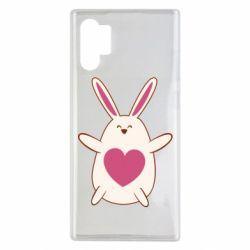 Чехол для Samsung Note 10 Plus Rabbit with a pink heart