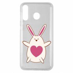 Чехол для Samsung M30 Rabbit with a pink heart
