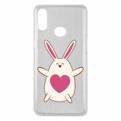 Чехол для Samsung A10s Rabbit with a pink heart