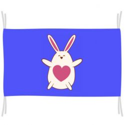Флаг Rabbit with a pink heart