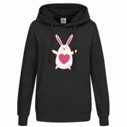 Женская толстовка Rabbit with a pink heart