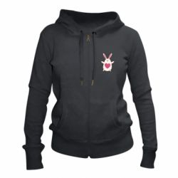 Женская толстовка на молнии Rabbit with a pink heart