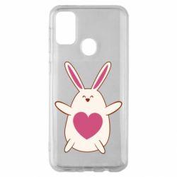 Чехол для Samsung M30s Rabbit with a pink heart
