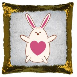 Подушка-хамелеон Rabbit with a pink heart