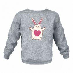 Детский реглан (свитшот) Rabbit with a pink heart