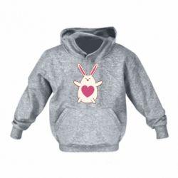 Детская толстовка Rabbit with a pink heart