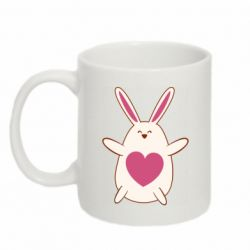 Кружка 320ml Rabbit with a pink heart