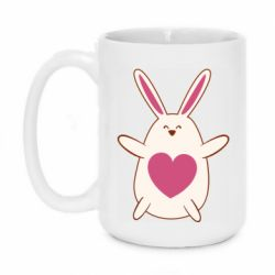 Кружка 420ml Rabbit with a pink heart