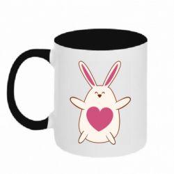 Кружка двухцветная 320ml Rabbit with a pink heart
