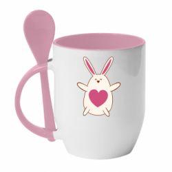 Кружка с керамической ложкой Rabbit with a pink heart