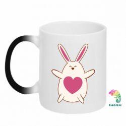 Кружка-хамелеон Rabbit with a pink heart