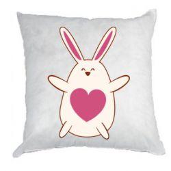 Подушка Rabbit with a pink heart