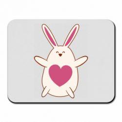 Коврик для мыши Rabbit with a pink heart