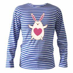 Тельняшка с длинным рукавом Rabbit with a pink heart