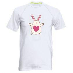 Мужская спортивная футболка Rabbit with a pink heart
