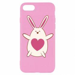 Чехол для iPhone 7 Rabbit with a pink heart