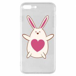 Чехол для iPhone 7 Plus Rabbit with a pink heart