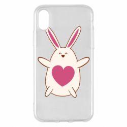 Чехол для iPhone X/Xs Rabbit with a pink heart