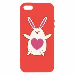 Чехол для iPhone5/5S/SE Rabbit with a pink heart